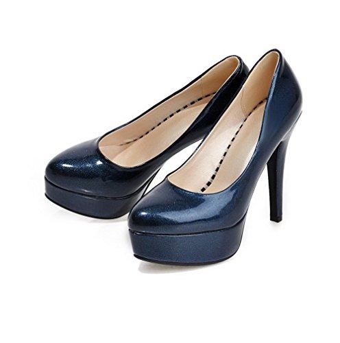 VogueZone009 Femme Verni Pointu à Talon Haut Tire Couleur Unie Chaussures Légeres Bleu