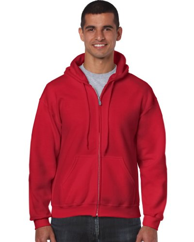 Gildan - Kapuzen Sweat-Jacke 'Heavyweight Full Zip' L,Red (Hoodie Red)