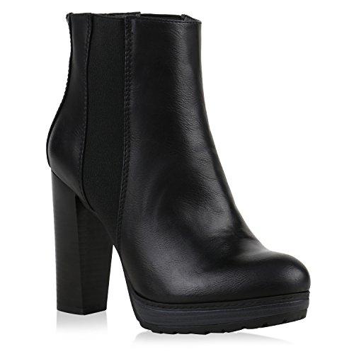 Stiefelparadies Damen Schuhe Plateau-Boots Klassische Stiefeletten Block Absatz 121948 Schwarz Carlton Cabanas 40 Flandell