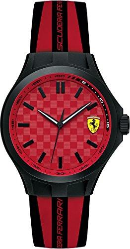 Ferrari Orologio da uomo due Tone Silicone Band plastica quadrante analogico al quarzo rosso 38mm 0840009