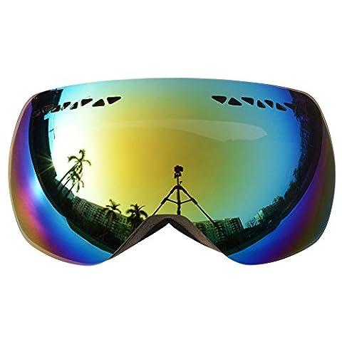 Supertrip TM Skibrille Snowboardbrille Snowboard für Herren Damen Jungen Knder mit Dual-Vented Linse und F3 100% UV400 Schutz Anti-Fog-Beschichtung Color Grau REVO Spiegel Gold / Blau (VLT 12,86%)