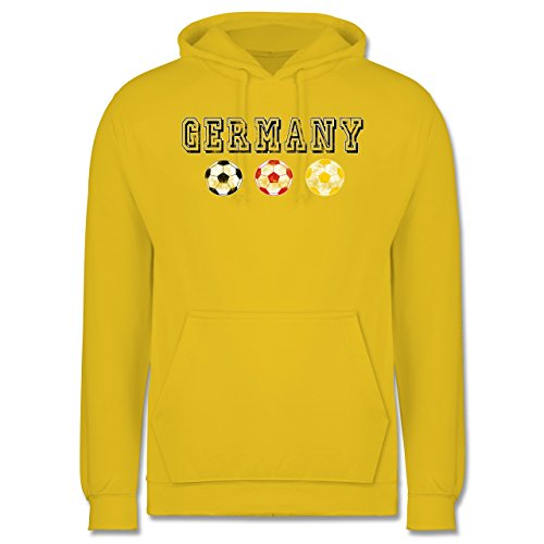 EM 2016 - Frankreich - Germany mit Fußbälle Vintage - Männer Premium Kapuzenpullover / Hoodie Gelb