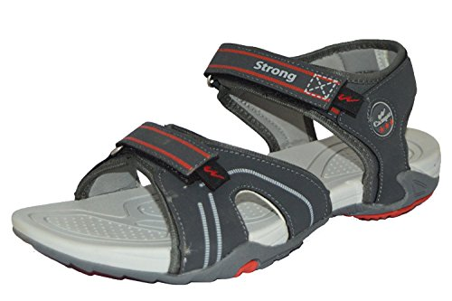 Campus Mens Dark Grey Light Grey Red Colour STRONG Series Synthetic Casual Sandal 6UK  available at amazon for Rs.398