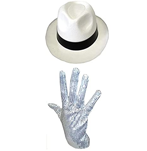 MICHAEL JACKSON HUT & PAILLETTE HANDSCHUH KOSTÜM GANGSTER AL CAPONE UNISEX - Weiß Hut & Paillette Handschuh, One (Al Capone Kostüm)
