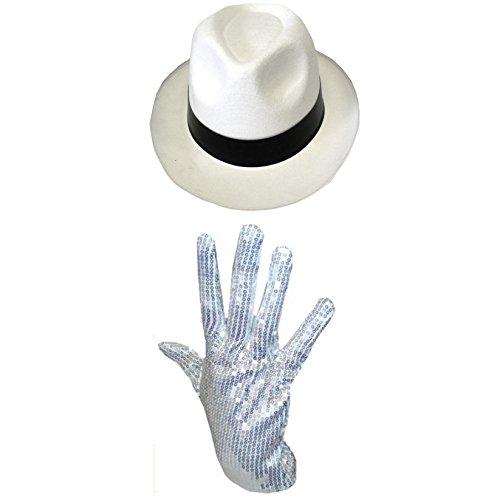MICHAEL JACKSON HUT & PAILLETTE HANDSCHUH KOSTÜM GANGSTER AL CAPONE UNISEX - Weiß Hut & Paillette Handschuh, One Size