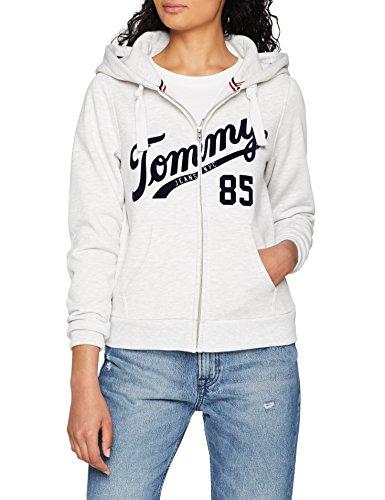 Tommy Jeans Donna Logo Zip Hoodie Felpa Maniche lunghe Grigio (Pale Grey  Heather 089) 769bcd5ff4