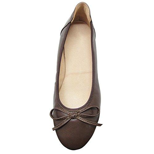 Baideng Ballerinas Damen Leder Lack Schwarz Weiß Rosa Braun 37 38 39 40 41 (Bitte Achten Sie Darauf, dem Linken Bild zu Folgen, um Die Fußlänge zu bestimmen) Braun(Kaffee)