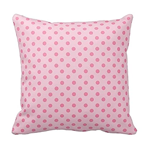 Pink Two Tone Polka Dots Pattern Square Decorative Throw Pillow Case Cushion Cover 18X18 Inch Zippered (Two Sides)