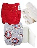 Maman et bb Nature - Pack découverte Couches lavables TE2 + insert et voiles de protection - Kit héros Avengers te2