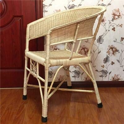 seeksungm Chair, Natural rotin Hand-Woven Small Wicker Chair, Home Green Armchair, Indoor and Outdoor Leisure Wicker Chair Rattan armchair