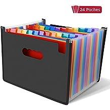 LOETAD Clasificadores Carpetas de Acordeón Carpeta Archivadora Extensible Portátil Organizador Documentos para A4 con 24 Compartimientos