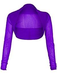 Neue Frauen Plus Size Langarmshirt transparentem Netz Bolero Shrug Top 36-50