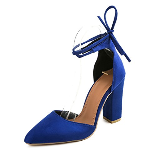 LBDX Europa e America Tacchi alti e spessi Bocca superficiale Cinturini  Calzari alti. Scarpe da donna (Colore   Blu 2ff4fcb82cd