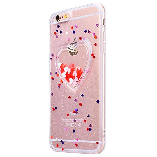 HB-Int Hülle für iPhone 6 / 6S Weich Silikon Back Cover Bling Glitter Schutzhülle Durchsichtig Flexible Dünn Case Herz Pailletten Full Body Bumper Shell Handytasche Durchsichtig