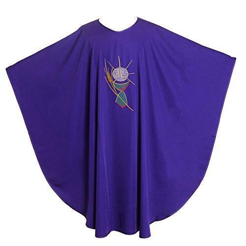 BLESSUME Priest Kasel (Gewand) Steinschmätzer Bestickt Mass Liturgische Kleidung zusammenklappbar Bademantel Lila (Style#3) -