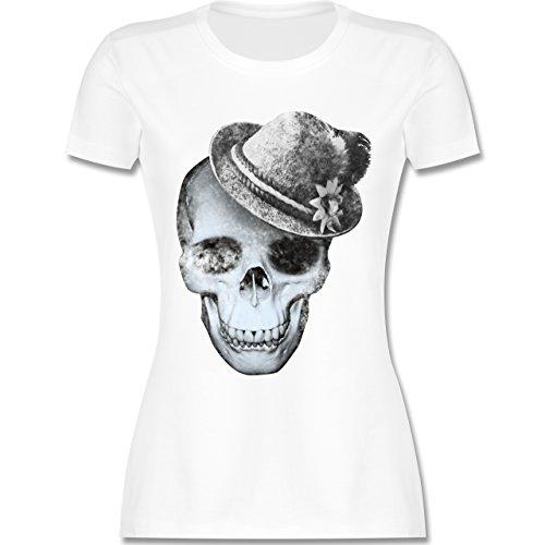 Oktoberfest Damen - Totenkopf mit Filzhut - XL - Weiß - L191 - Damen T-Shirt Rundhals