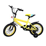MuGuang 14 Pollici Bicicletta da Bambina Bicicletta per Bambino Studio apprendimento Equitazione Bici Ragazzi Ragazze Bicicletta con stabilizzanti con Bell per 3-8 Anni (Giallo)
