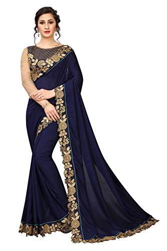 Sunshine Fashion Women\'s Kashmiri Silk Embroidery Work Saree With Unstitched Blouse Piece(SUNS3155_Blue_Free Size)