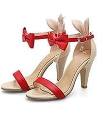 Sandali rossi con chiusura velcro per donna Minetom
