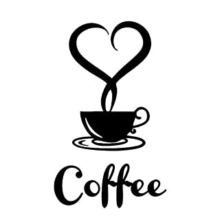LETAMG Wall Sticker Coffee Cup Coffee Carving Wall Sticker Love Coffee Cup Vinyl Wall Stickers Art Mural Decals For Kitchen Tea Room