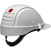 3M G2000 Casco blanco con ventilización, arnés estándar y banda de sudor de plástico 1