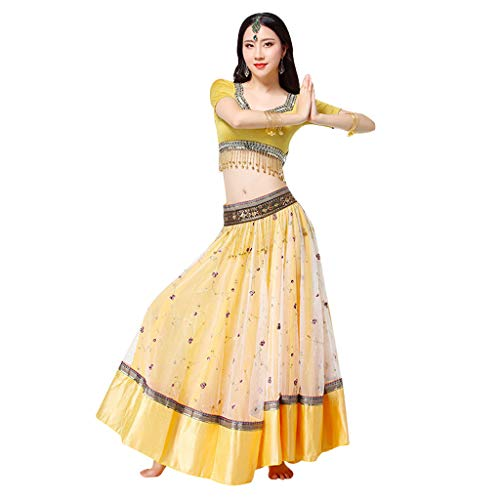 RJ Kleid Bollywood gestickte Kostüme Nationale Tanzkostüme Erwachsene indische Sari Big Swing Dress Performance Kleidung (Color : Yellow, Size : M)