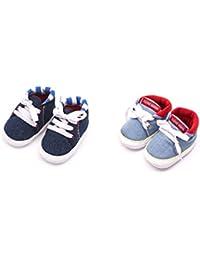 Infano Infants Cotton Shoes, 6-12Months (Blue) - Pair of 2