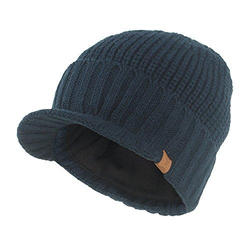 Kuyou Strickmütze mit Schild Herren Winter Visor Beanie Cap (Navy blau) -
