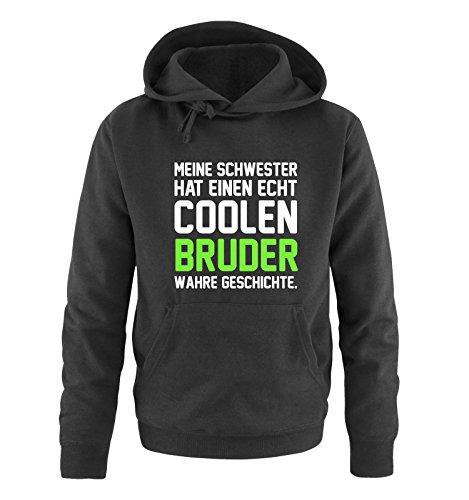 Bruder Hoodie (Comedy Shirts - Meine Schwester hat einen echt coolen Bruder wahre Geschichte. - Herren Hoodie - Schwarz / Weiss-Neongrün Gr. S)