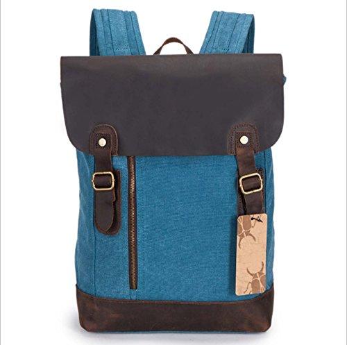 Segeltuchrucksack Retro- Schulterbeutel im Freien große Kapazität Rucksack beiläufige Tasche Blue