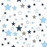 Tela de algodón 100% de estrellas para niños, se vende por metros, artesanía, costura de tela, 100 x 160 cm, 1 metro Weiß Blau Grau