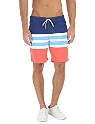 Zobello Mens Stripe Colorblock Quick Dry Swim shorts(41020A_Royal/White/Orange_Medium)