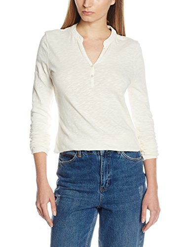 Marc O'Polo Damen Langarmshirt 701204352287, Gr. Large, Elfenbein (desert wind 139) (Strukturierte Langarm-polo-shirt)