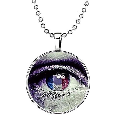 YC superior Original diseño creativo noctilucous ojo colgante collar