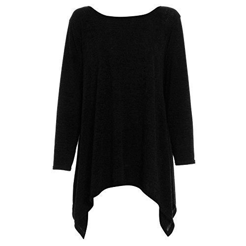 être Jaloux pour femmes manches longues Pull tricoté Tricot Hanky Ourlet Swing Top Plus Taille Chiné Noir