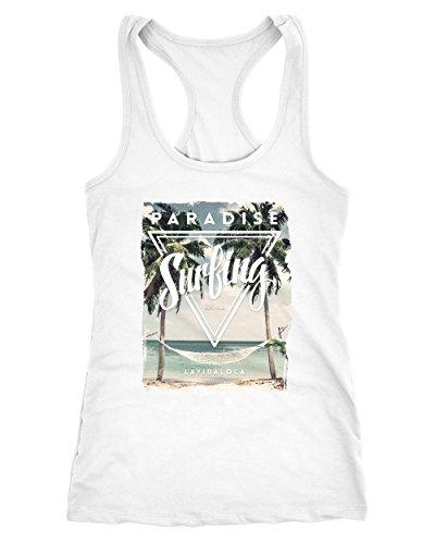 Neverless Damen Tank-Top Excotic Island Paradise Surfing Summer Sommer Hängematte Palmen Weiß XXL