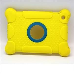 Aken Étui pour iPad Mini 1/2/3 en cuir PU hybride renforcé avec rabat magnétique et fonction Veille/marche jaune