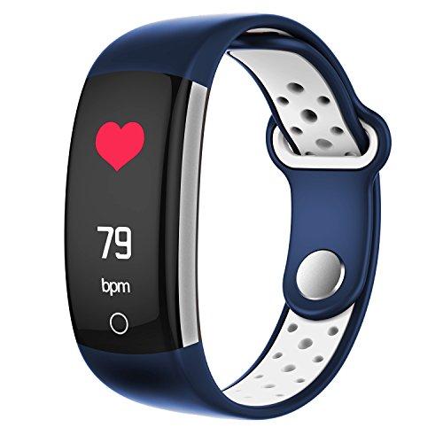 ZLLZ Smart Armband, Farbdisplay Schritt Herzfrequenz Bluetooth, Lange Standby-wasserdichte Sportarmband, Fitness-Tracker Smart Watch, geeignet für Männer und Frauen-Blue