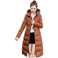 SoonerQuicker Frauen für Winter beiläufige Feste Mantel-Kragen-Lange Jacken wärmen Verdickte gepolsterte mit Kapuze Mantel