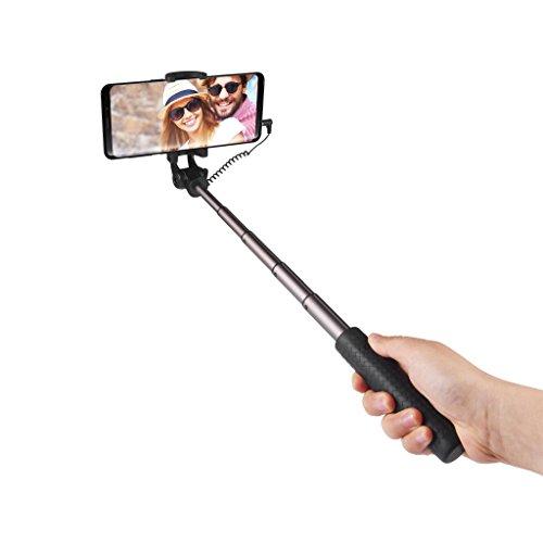 Power Theory Mini Selfie Stick - Ohne Akku mit Aux Kabel Auslöser, Superkleiner Selfiestick für Samsung Galaxy S9 S8 S7 Edge S6 iPhone X 8 7 6s Plus 6 und Alle Smartphones Selfi Stange Handy Monopod