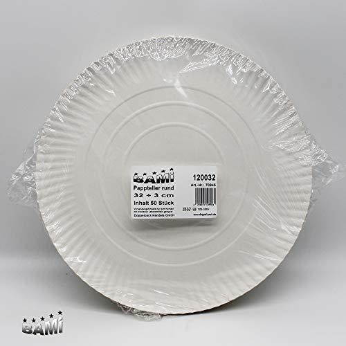 BAMI 50 Stück Pappteller Einwegteller runde Teller für Grillfest, Geburtstag oder Party, biologisch abbaubare Pappe (32 cm + 3 cm rund) Pizza-teller