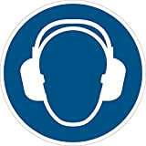 Gebotsschild Gehörschutz tragen | ø 200 mm | blau/weiß | 1 Stück