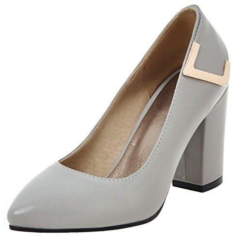 COOLCEPT Damen Basic Slip on Pumps Comfy Blockabsatz Office Dress Schuhe Grey