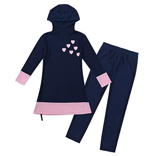 Agoky Mädchen Burkini Kinder Badeanzug Muslim Islamischen Full Cover Bademode Top + Hosen Wassersport UV Schutz Anzug Navy Blau 152-164/12-14Jahre