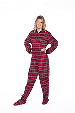 Big Feet PJs Red Plaid w/ Hearts Flannel Adult Footed