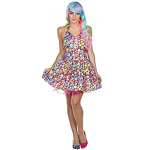 Lollipop Kostüm - Rubie's Damen Kostüm Schokolinse Kleid Bunt Candy Fasching Karneval Schokoladen-Linse (36)