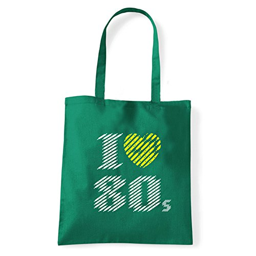 Art T-shirt, Borsa Shoulder I love 80, Shopper, Mare Verde