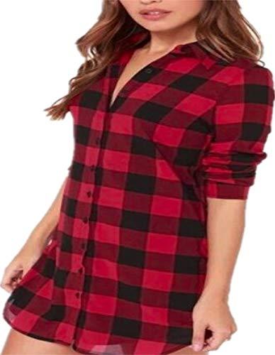 Neues Nützliches Frauen Casual Top Kariertes Hemd Lange Bluse Scottish Plaid Check Shirt (Farbe : Red, Größe : L) -