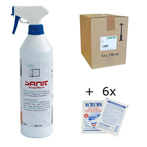 SANIT - SpiegelBlank - VPE: 12 Flaschen a' 750ml Glasreiniger - im Set inkl. 6 St. Original DEWEPRO® Single Scrubs