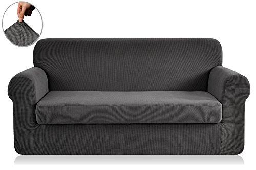Chun yi 2-pezzi copridivano jacquard monocromatico in tessuto elastico (divano, grigio)